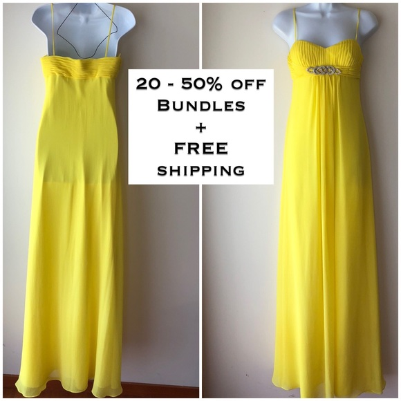 68622f44ad Caché, yellow gown, prom, pageant, evening gown